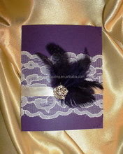2015 Wholesale trend handmade purple lace invitation card with feather and ribbon