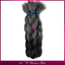 2015 Finshion xpression Ultra Braid Two Tone Kanikalon Jumbo Braiding Hair Black Grey 100G