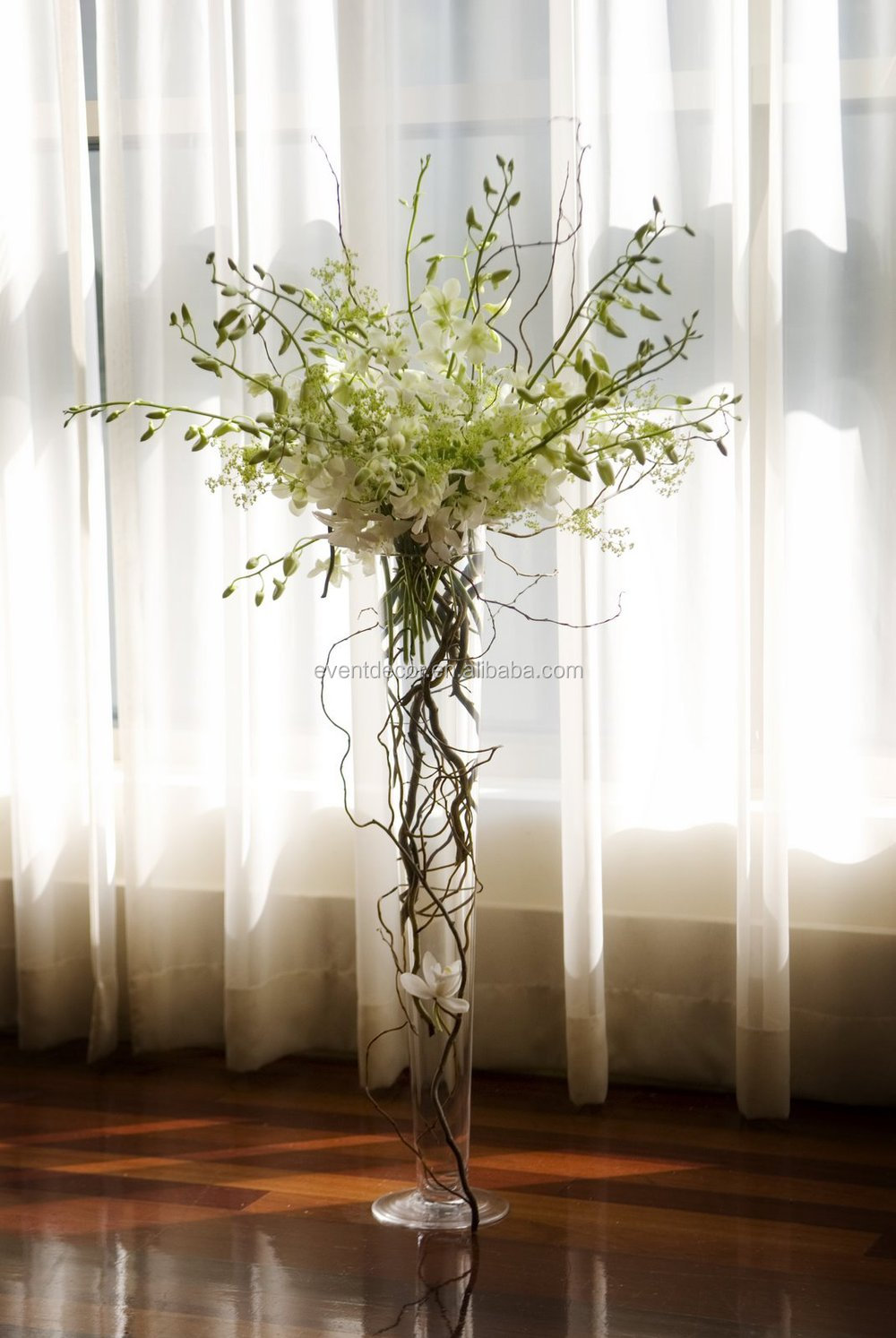Clear trumpet glass vase wedding centerpiece and