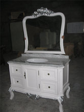 luxurious hand-carved antique design marble countertop solid bathroom vanity with trace silver process