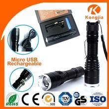 10W XML T6 LED USB 5 pin Aluminium Rechargeable Ultra Bright Flashlight 2000lm Torch Led