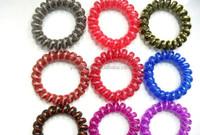 H628-025 fluorescent color coiled telephone line elastic plastic lady plastic flexible ponytail bun holders hair band