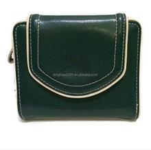 Silver hardware Custom bifold green blue leather women's wallet
