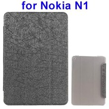 Silk Texture Three Folio Flip Leather Tablet Case for Nokia N1 with Stand