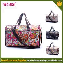 Custom TTO printing nylon ladies fashion travel duffle bag