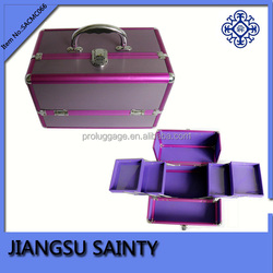 Lavender color hard makeup case china market metal aluminum makeup case