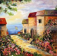 100% Handmade Impressionist Beautiful Natural Village Scenery Painting Sunrise From The Village Wall Art Oils on Canvas