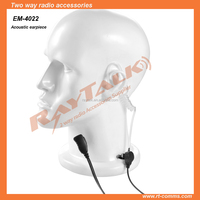 Two wire air tube earpiece for two way radio