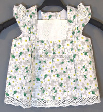 2014 new arrival baby cotton printed flower shirt baby girl floral crochet shirt