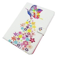 Colorful Butterfly Pattern Stand Flip PU Leather Smart Case for iPad Air 2