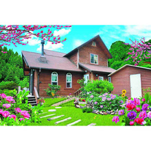 Western-style building with a garden nude poster