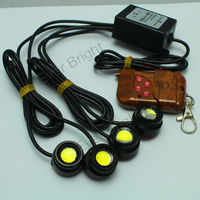 Good price ! DRL 4*1.5W Car Strobe Flash Daytime Running Light Eye Reverse Backup Stop Daytime Running Light with Remote Control