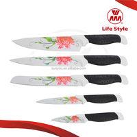 5pc set colorful non-stick knife fruit carving knife set