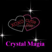 crystal Magia romantic heart love 2 cheer heat rhinestone transfers designs