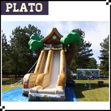 Hot sale inflatable christmas tree house, giant inflatable Christmas tree house slide for Festival