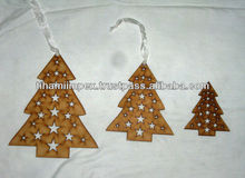 Tree Shaped Wooden Christmas Hangings