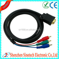 High Quality Gold Plated 6FT Cable VGA RCA Cable For TV/HDTV Monitor Projector