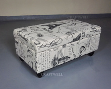 Eiffel Tower open top storage fabric upholstered trunk stool