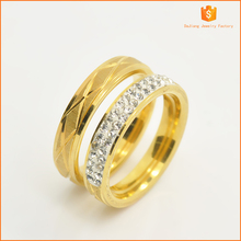 18K plating gold with flower ornamental design of stainless steel ring