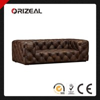 ORIZEAL CLASSIC CHESTERFIELD SOHO ALLOVER BUTTON TUFTED LEATHER SOFAS (OZ-LS-2035)
