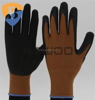 Nylon liner black Latex dipped safety labor glove