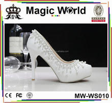 CHEAP JEWELRY HANDMADE WHITE BRIDAL WEDDING SHOES