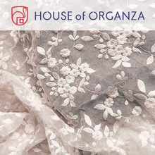 2015 Snow Flower Plain Embroidered Organza Fabric