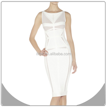hot sale girls dresses wholesale white mesh with hollow bandage dress 2015