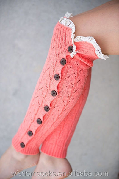 Knitting Pattern For Leg Warmers With Buttons : 2014 Button Down Knitting Lace Leg Warmers For Kids - Buy Lace Leg Warmers,Ha...