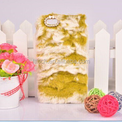 2015 shiny fur cell phone cover protective cases for iphone 6 winter warm rabbit fur mobile phone case for iphone 6