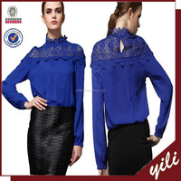 2015 spring new design hot sell long sleeve DTM lace accessory lady blouse