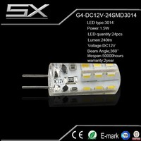 High quality and lumen silicone led lamp g4 24LED SMD 3014 DC 12V 1.5w
