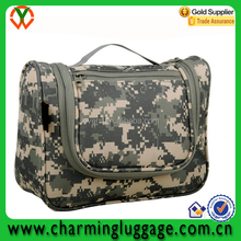 Foldable military camouflage hanging travel toiletry bag with mental hook