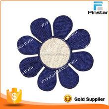 Wholesale Custom Garment Blue Flower Iron On Badge Embroidery