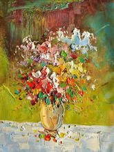 Palette knife flower painting wall pictures for living room