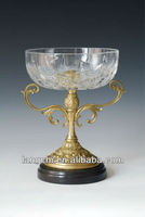Antique Marble Based Bronze Sculpture Crystal Fruits Tray Home Deco for sale TPGP-031A