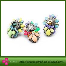 Yiwu production of fashion brand wholesale jewelry, alloy diamond flower lady ring