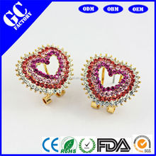 new rose crystal heart earrings for kids from GC factory