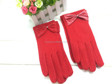 newly design womens bow cashmere gloves girls adult pretty stylish gloves sexy lady winter gloves with decorative bowknot custom