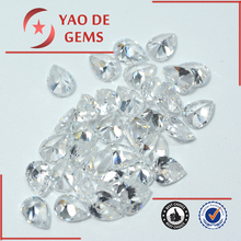 hot sale semi precious 5*7mm pear white cubic zirconia cz synthetic gems