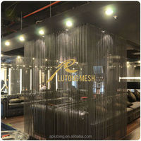 Architectural design decorative metal coil drapery for interior room divider