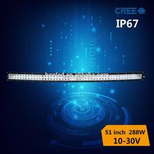 high power cree led light bar 288w 51 inch for vehicle lighting