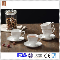white porcelain modern tea cup and saucer cheap promotional gift set