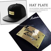 Custom gold metal hat plate/Beanie hats metal logo plates/Metal plate logo
