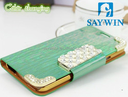 Laser texture PU Leather phone case for Samsung S5