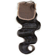 Grade 7A Top Quality Brazilian Virgin Hair Body Wave Free Parting Silk Base Bangs Lace Closure