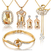 2014 alloy italian gold plated jewelry sets with crystal