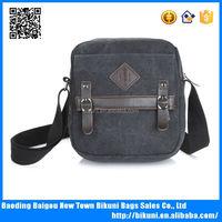 Neuter gender zip lock canvas with leather messenger bag canvas shoulder bag