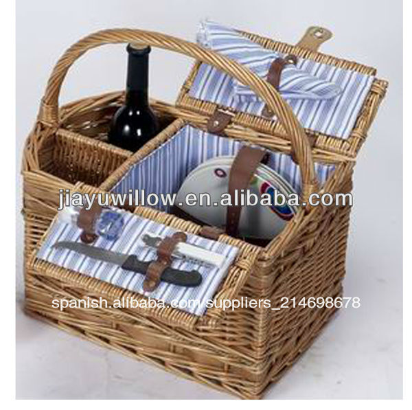 De mimbre peque as cestas de picnic para la familia cesta - Cestas de mimbre pequenas ...