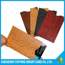 New Style leather looking RFID blocking credit card sleeve